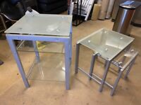 Glass Topped Side Tables (Set of 3)