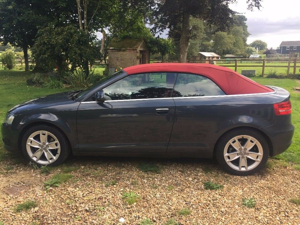 audi a3 cabriolet 1 8 tfsi sport 2dr metallic grey red roof red leather interior in. Black Bedroom Furniture Sets. Home Design Ideas