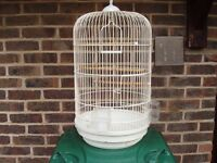 ROUND WHITE BIRDCAGE SUITABLE FOR COCKATIEL SMALL PARROT
