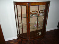 Vintage Bow-Fronted Display Cabinet with Queen Anne legs