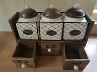 Tea coffie sugar and storage draws