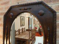 Antique Vintage Victorian Jacobean Oak Framed Bevelled Mirror