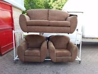 brown fabric 3 seater and 2 chairs sofa suite from NEXT