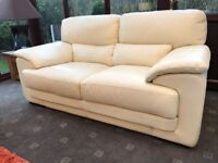 Ex Display 3 + 2 Ivory Leather Sofas Barker & Stonehouse RRP £4200