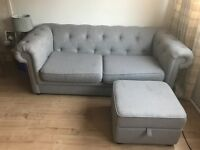 Sofa and foot stool with storage from DFS