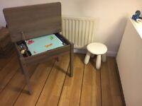 VGC Ikea Childs Desk, Wicker Box