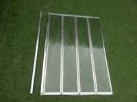 modern bathroom 4 fold foldable shower/bath screen door in silver