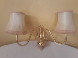 Solid Brass Twin Wall Lights and Shades - 2 sets together