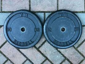 "York 10kg x 2 Cast Iron weight plates 1"" hole"