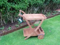 Solid wood serving trolley