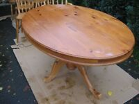 Pine, Oval, pedestal dining table & 6 beech dining chairs, incl 2 carvers