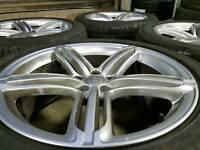 "GENUINE AUDI 20"" SLINE SEGMENT ALLOY WHEELS & 7MM TYRES 5X112 Q3 Q5 A5 A6 A7 A8 TIGUAN VW MERCEDES"
