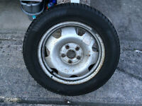 One x 17 inch steel wheel & tyre with excellent tread left.