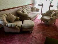 3 Piece Suite + Footstool and Cushions