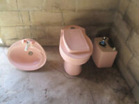Armitage Shanks Toilet and Basin Cloakroom Set - Rose Pink ( Pale Pink)