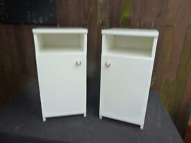 2 x Bedside White Cabinets Delivery available