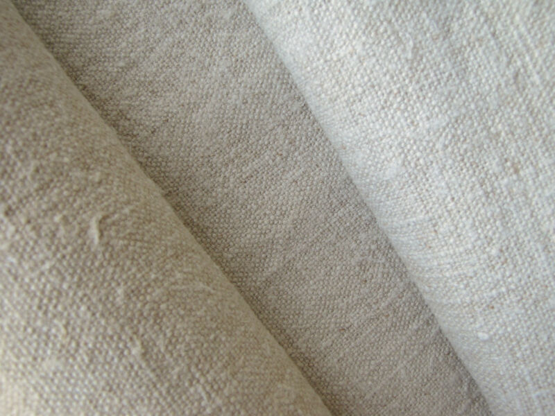 Antique Linen Fabric 3 Yards Upholstery Weight European Hemp Textile 20 in wide