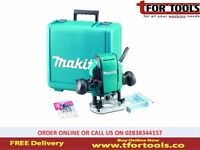 "MAKITA Router & FREE Bit Cutter Set RP0900X 240 volt 1/4"" OR 3/8"" Plunge Router & Case"