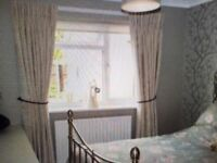 2 pairs of curtains natural colour chenille sateen lined