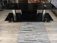 Large Black glass telly stand