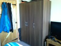 Triple wardrobe, wenge in colour, good condition