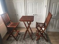 High 3 Piece Outdoor Balcony Wooden Set - Folding Table and 2 Chair