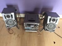 JVC Hi-Fi Stereo System, Radio, CD, AUX Outlet & Cassette Player Recorder & Surround Sound Speakers