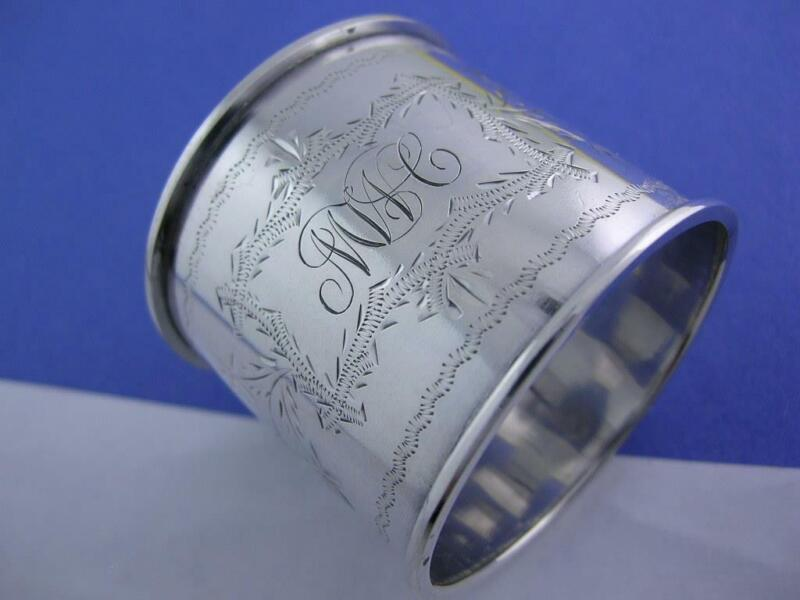 Antique Sterling Napkin Ring w/ foliage engraved decorations c1800s