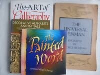 Calligraphy books, (4) Universal Penman, The Painted Word, Art of Calligraphy, Decorative Alphabets.