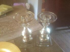 Gold crackle glass candle holders