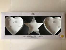BRAND NEW LED MARQUEE LIGHTS - STAR & HEARTS