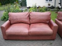 NATURAL LEATHER 3 SEATER & 2 SEATER SOFAS - SUPERB QUALITY - £175