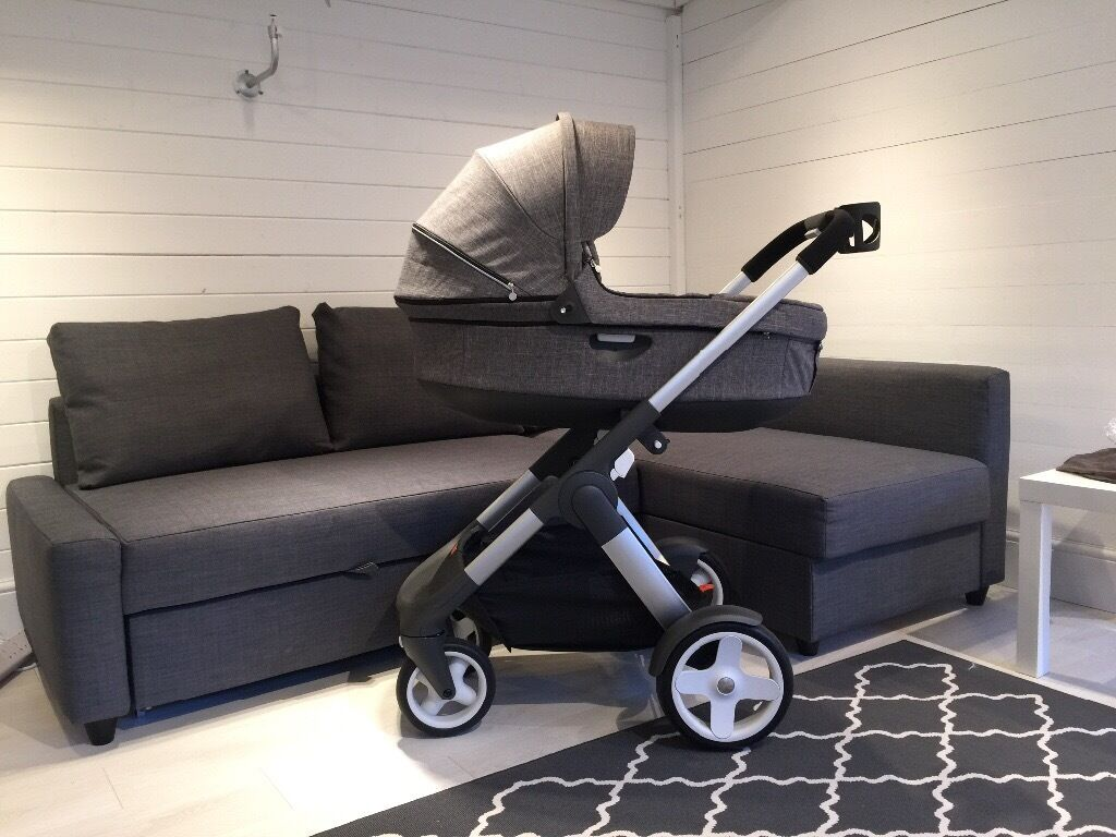 stokke crusi  chassis basinet car seat (all as new)  in wood  - stokke crusi  chassis basinet car seat (all as new)