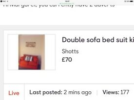 Red double sofa bed. Brand new.