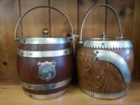 1930's oak biscuit / ice barrels