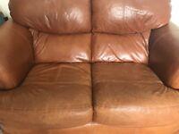 Italian leather sofa and armchair