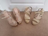 2 x pairs of shoes 1 x Curve Wedge Open Toe Sandals,1 x Curved Wedge Strappy Sandals new