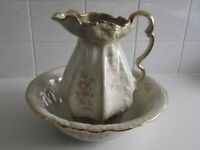 Staffordshire iron stone water jug and wash bowl good condition