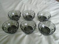 Vintage smoked glass leaf design dessert / pudding bowls x 6