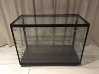 Black metal/glass display cabinet/x1 inner glass shelf/x4 internal spotlights/lockable sliding door