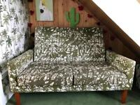 Vintage / Retro Ikea Two Seater Sofa with Wooden Legs 1972