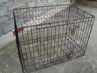 DOG CAGE 30 INCH WIDE 21 INCH TALL 19 INCH WIDE WITH 2 DOORS FOLDS FOR STORAGE ONLY £20