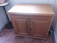 SOLID WOOD SIDEBOARD GERMAN SCHRANK. SWIVEL TOP AND SLIDING SHELVES