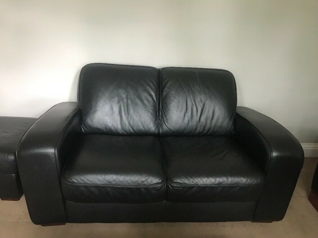 Incredible 2 Seater Black Real Leather Sofa Used But Flawless Condition In Kilburn London Gumtree Camellatalisay Diy Chair Ideas Camellatalisaycom