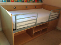 Cabin Bed Beech Effect with cupboards & shelves underneath