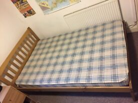 Salvador Waxed Pine 4ft Small Double Bed (120x190cm) Bed and Mattress For Sale - Collection Only