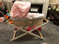 Moses basket and luxury stand for baby girl excellent condition