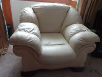 DFS ;Ivory Italian leather Designer arm chair with Mahogany feet.