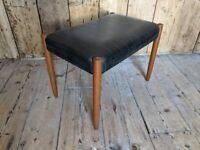 Danish style teak dressing table stool mint condition black vinyl MCM vintage teak gplanera