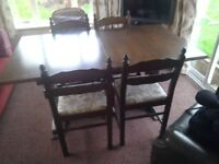 Extending Dining Room Table And Four Chairs
